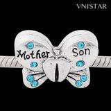 Vnistar Mother Son butterfly beads PBD1729 PBD1729 VNISTAR Alloy Crystal Stone Beads